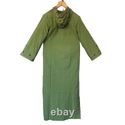 Vintage 70s Kaftan Pakistan Cotton Green Hooded Hand Embroidered Tunic dress L