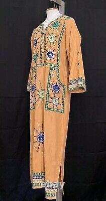 Vintage 70s Kaftan Pakistan Cotton Mirror Work Hand Embroidered TUNIC dress M/L
