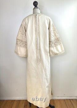 Vintage 70s Lounge dress Caftan Cotton cream Hippie Embroidered Tunic Pool Robe