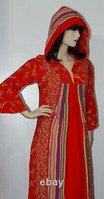 Vintage 70s Potage Bohemian Boho Hooded Caftan Maxi Dress
