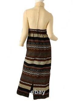 Vintage 70s Tapestry Embroidered Boho Hippie Cottagecore Cape Hooded Dress Maxi