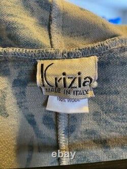 Vintage 70s dress KRIZIA wool print hooded maxi long duster jacket hippie boho M