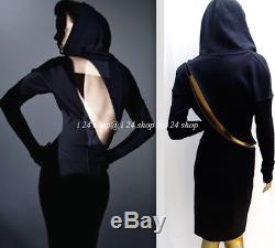 Vintage Alaia Black Hood Spiral Brass Zipper Dress- Museum Collection- S/m