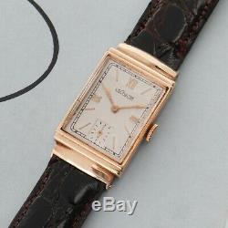 Vintage Antique LeCoultre 14k Gold Hooded Lugs Fine Dress Watch 20mm x 35mm
