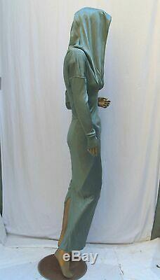 Vintage Azzedine Alaia Sage Green Acetate Hood Spiral Zipper Mermaid Gown Dress