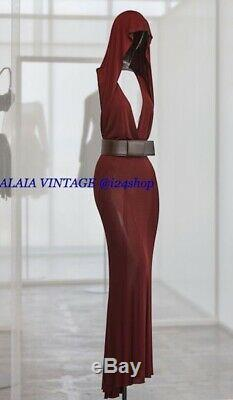 Vintage Azzedine Alaia Visc0se Hooded Backless Fishtail Gown Dress- 4/6, 38