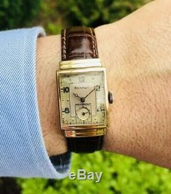 Vintage Benrus 14k Solid Gold. Stepped Case. Hooded Lugs. Dress wrist watch