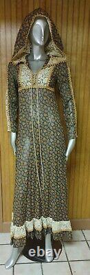 Vintage Black Label Gunne Sax Semi Sheer Long Sleeve Prairie Dress With Hood 7