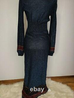 Vintage Blue Metallic Lurex maxi dress + Hood retro 60s 70s high fashion jumper