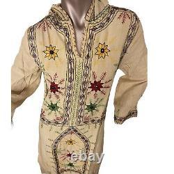 Vintage Dress Kaftan Pakistan Cotton White Hooded Hand Embroidered Tunic dress M