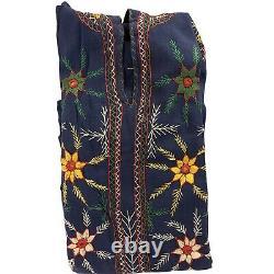 Vintage Festival Dress Cotton Blue Hooded Hand Embroidered Tunic Kaftan Medium