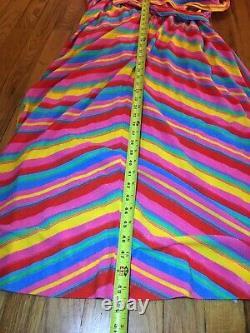Vintage Hooded Dress Rainbow Stripe Drawstring Terry Cloth Disco 70s Or 80s