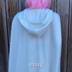 Vintage Hooded Robe Maxi Dress Set Robe and Tank Dress White Hippie Boho 70s