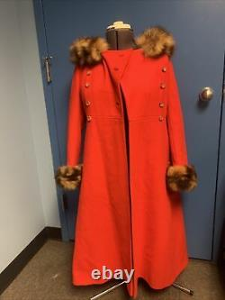 Vintage ILGWU Union Made Red Dress Trench Coat With Fur Lining And Hood