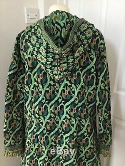 Vintage Kaftan Coat Hooded Woven Tapestry Style Hippy Festival Indian Cotton