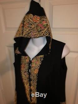 Vintage Maskit Israel Couture Black Wool Hooded Maxi Caftan Dress Embroidered 42