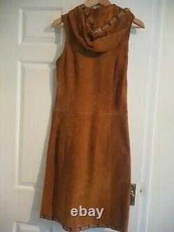 Vintage Real Suede Hooded Waistcoat Dress Boho Folk Festival Small