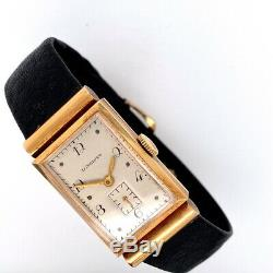 Vintage Solid 14K Yellow Gold Longines Hooded Tank Style Mens Dress Watch