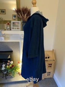 Vintage Toast Blue Denim Cotton Hooded Dress Sz 14 with Pockets