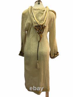 Vintage VTG 1970s 70s Boho Beige Embroidered Tunic Dress with Hood