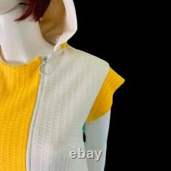 Vtg 60s-70s Coloblock Hooded Beach Cover Caftan Dress By Alex Coleman