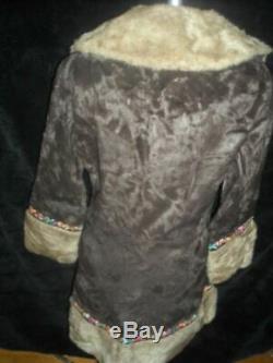 Vtg 60s 70s Womens Small Princess Faux Fur Ethnic Dress Hooded Zip Coat Jacket