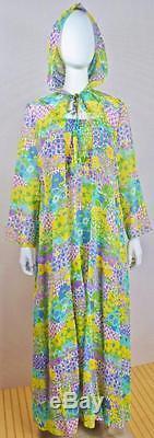 Vtg 70s Denise L Boho HiPPiE Festival Dress Duster Hood Maxi Sheer Gauze Twirl