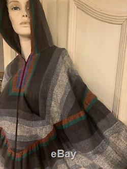 Vtg 70s Rikma Made in Israel Designer Dress Size S Hooded Boho Bohemian Caftan