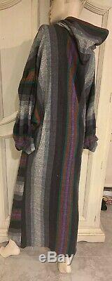 Vtg 70s Rikma Made in Israel Designer Dress Size S Hooded Boho Langenlook Caftan