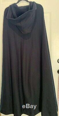 Vtg JOSHUA TREE CA KNIT MAXI Black Hooded Cape OSFM 60-70s Costume