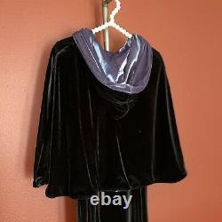 Vtg NWT cykxtees velver dark victorian fairy dress and hooded cape set sz S