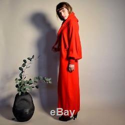 Vtg crimson Shi 100% CASHMERE chic Scotland MINIMALIST scarf hood maxi dress SML