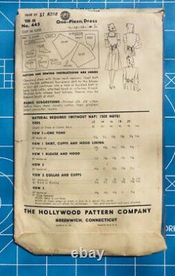 WWII 40s Vintage Original Hollywood Pattern Sailor Dress with Hood #445