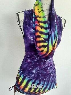 Warrior Within Cowl Hooded Tie Dye Dress BNWT $150 Haight Ashbury Festival