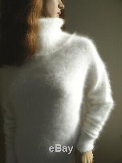 White Angora Turtle Neck fluffy'figure hugging' dress. 85 cm Fluffy-Luxurious