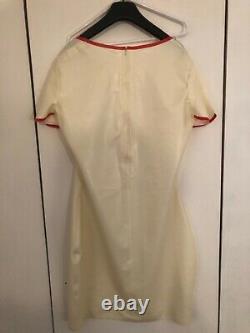 White Latex rubber Nurse dress set uniform XXL 16-18 gloves, hood, pants pinny