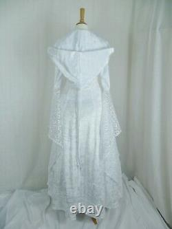 White Medieval Wedding Dress Renaissance Hooded Gown Custom made to size