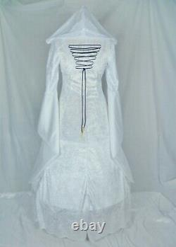 White and Black Medieval Hooded Wedding Dress Renaissance Custom Made to Size