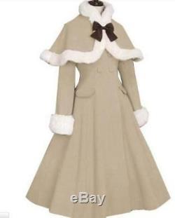 Women Cosplay Coat Cloak Bowknot Sweet Swing Dress Lolita Winter Cape Jacket