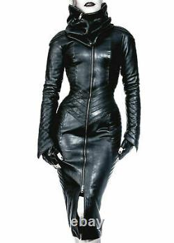 Women Real leather Gothic Bodysuit separate Zipper Hood Steam Punk Leather dress