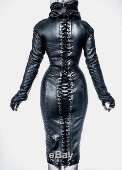 Women Real leather Gothic Bodysuit separate Zipper Hood SteamPunk Leather dress