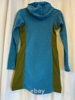 Women's MELANZANA Micro Grid Fleece Hoodie Tunic Dress, XS, Blue & Green, EUC