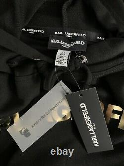 Womens KARL LAGERFELD PARIS Black Hoodie Sweater Dress Gold Logo S NWT