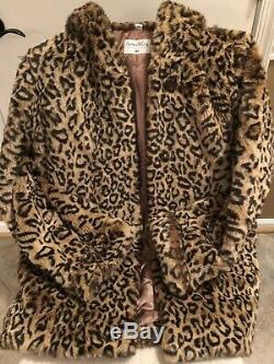 Womens Leopard Faux Fur Designer Coat With Hood Pamela McCoy Size M Super Soft