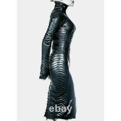 Womens Real Leather Gothic Bodysuit Separate Zipper Hood Steampunk Leather Dress