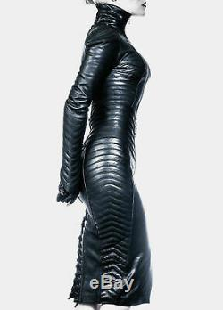 Womens Real Leather Gothic Steampunk Dress Bodysuit Separate Zipper Hood Casual