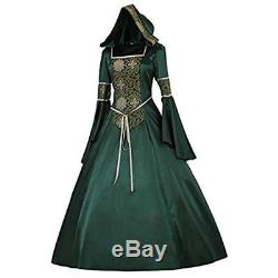 Womens Renaissance Gown Costume Medieval 2XL Dress Green Emerald Brocade Hooded
