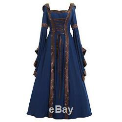 Womens Renaissance Gown Costume Medieval 3XL Dress Blue Brown Hooded