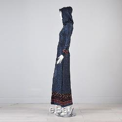 XS/S Vintage 1970s 70s Hooded Dress Floor Length Evening Gown Blue Hippie Boho