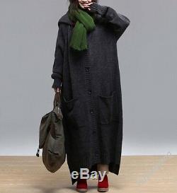 XYW Casual Maxi Women's Long Sleeve Hooded Sweater Knitwear Coat Jacket Outwear
